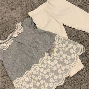 12 mo gray and lace dress with leggings